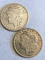 TWO VF CLEANED MORGAN SILVER DOLLARS. 1890-O & 1891-O. MA2