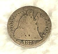 1875CC LIBERTY SEATED SILVER DIME-MM BELOW WREATH-ABOUT GOOD