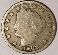 1906-P 5C LIBERTY HEAD NICKEL 17RR1808-1 50 CENTS SHIPPING