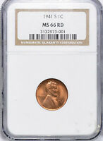 1941-S LINCOLN WHEAT CENT - NGC MINT STATE 66 RD 973-001