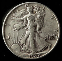 1942-S WALKING LIBERTY 90 SILVER HALF SHIPS FREE. BUY 5 FOR $2 OFF