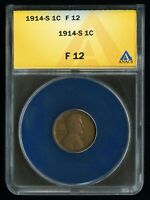 1914-S US 1C ABRAHAM LINCOLN ONE CENT WHEAT CENT KEY COIN FINE ANACS F 12