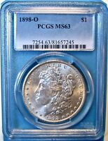 1898-O $1 MORGAN DOLLAR. CERTIFIED PCGS MINT STATE 63. MG4.