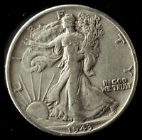 1943-P WALKING LIBERTY 90 SILVER HALF SHIPS FREE. BUY 5 FOR $2 OFF