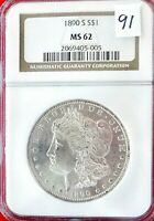 91 1890 S  MINT STATE 62 MORGAN DOLLAR UNC .