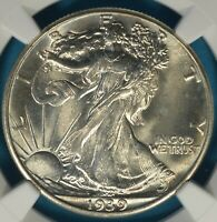 1939 WALKING LIBERTY HALF DOLLAR NGC MINT STATE 66 BOOMING LUSTER, AWESOME GEM EXAMPLE