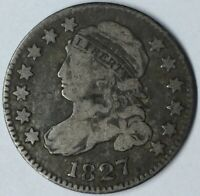 1827 10C CAPPED BUST DIME F UNCERTIFIED