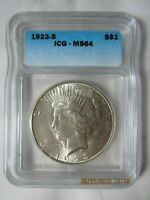 1923 S PEACE SILVER DOLLAR - GRADED BY ICG MINT STATE 64