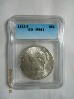 1922 S PEACE SILVER DOLLAR - GRADED BY ICG MINT STATE 63