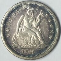 1842 10C SEATED LIBERTY DIME AU UNCERTIFIED
