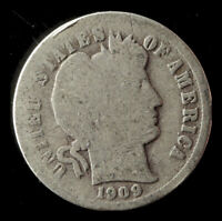 1909-P BARBER 90 SILVER DIME SHIPS FREE. BUY 5 FOR $2 OFF