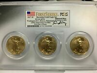 2017-W $50 US BURNISHED GOLD AMERICAN EAGLE COIN SET FIRST STRIKE FDOI PCGS SP70
