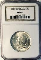 1936 CLEVELAND COMMEMORATIVE SILVER HALF DOLLAR - NGC MINT STATE 65 - MINT STATE 65