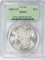 1884-CC MORGAN SILVER DOLLAR - PCGS  MINT STATE 64 -  CERTIFIED MINT STATE 64