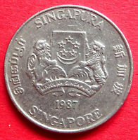 SINGAPORE  ASIA  COLLECTABLE VINTAGE 1987  TWENTY CENT COIN  IN A GOOD GRADE