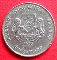 SINGAPORE  ASIA  COLLECTABLE VINTAGE 1989  TWENTY CENT COIN  IN A GOOD GRADE