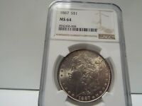 1887 MORGAN SILVER DOLLAR NGC MINT STATE 64 .BEAUTIFUL CLEAR COIN, FACE AND COLOR.