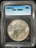 1902 O SILVER MORGAN DOLLAR ICG MINT STATE 64 64 MS UNC $1 NEW ORLEANS