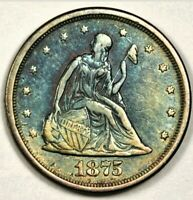 1875 S TWENTY CENT PIECE WITH ATTIC TONING EF TO AU CONDITIO