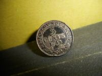 1943 NEWFOUNDLAND 5 CENT SILVER COIN JEWELERY CONVERTED TO A