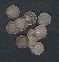 1858 1901  CANADA SILVER 5 CENTS   LOT OF 10