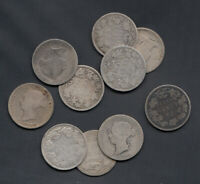 1870 1901  CANADA SILVER 25 CENTS   LOT OF 10