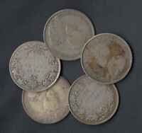 1921 CANADA SILVER 25 CENTS   LOT OF 5
