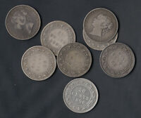 1870 1900  NEWFOUNDLAND SILVER 50 CENTS   LOT OF 8