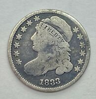 1833 CAPPED BUST DIME - CIRCULATED 90 SILVER US COIN 1Z4