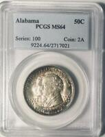 1921 ALABAMA COMMEMORATIVE SILVER HALF DOLLAR- PCGS MINT STATE 64 - TONED AND LUSTEROUS