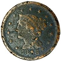 1848-P 1C BRAIDED HAIR LARGE CENT 20SUT0307 50 CENTS SHIPPING