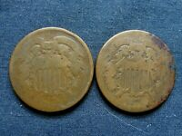 2 US 1864 2 CENT PIECES LOW GRADE SEE SCANS