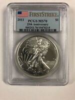 PCGS MS70 FIRST STRIKE 2011 25TH ANNIVERSARY SILVER EAGLE