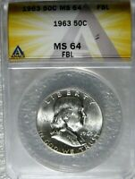 1963 FRANKLIN HALF DOLLAR ANACS CERTIFIED MINT STATE 64 FBL FULL BELL LINES