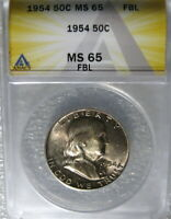 1954 FRANKLIN HALF DOLLAR ANACS CERTIFIED MINT STATE 65 FBL FULL BELL LINES FROM MINT SET