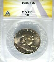 1955 FRANKLIN HALF DOLLAR ANACS CERTIFIED MINT STATE 66 FBL FULL BELL LINES FROM MINT SET