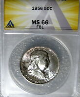 1956 FRANKLIN HALF DOLLAR ANACS CERTIFIED MINT STATE 66 FBL FULL BELL LINES FROM MINT SET