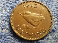 ENGLAND  FARTHING: 1940 IN LY FINE PLUS CONDITION  KING GEOR