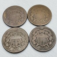 LOT OF 4 TWO CENT PIECES 2C 1864 1865 1867 AND 1868