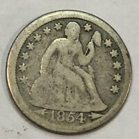 1854-O SEATED LIBERTY SILVER US DIME. G-VG. Q1