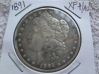 1891 MORGAN SILVER DOLLAR $1 US MINT COIN 90 SILVER WITH  TONING AU