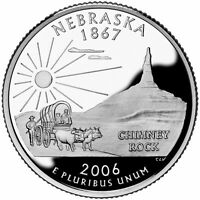 2006 S SILVER GEM PROOF NEBRASKA STATE QUARTER  SILVER/PROOF