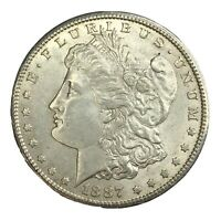 1887-S $1 MORGAN SILVER DOLLAR AU