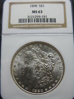 1890 $1 MORGAN SILVER DOLLAR NGC MINT STATE 63  BLAST WHITE BETTER DATE