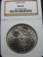 1888-O $1 MORGAN SILVER DOLLAR NGC MINT STATE 63  FLASHY WHITE BETTER DATE