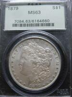 1879 $1 MORGAN SILVER DOLLAR PCGS MINT STATE 63  LIGHT TO MEDIUM AMBER ON BOTH OBV & REV