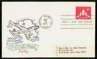 MAYFAIRSTAMPS 1971 US FDC HAND COLORED AIRPLANE 9 CENTS FIRS