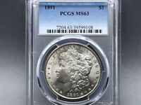 1891-P PCGS MINT STATE 63 MORGAN SILVER DOLLAR GOOD EYE APPEAL W/ GREAT LUSTER