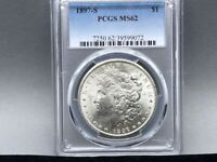 1897-S PCGS MINT STATE 62 MORGAN SILVER DOLLAR GREAT LOOK/EYE APPEAL AND STRIKE