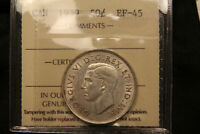 1939 CANADA SILVER 50 CENTS. ICCS EF 45. NICE LUSTRE LOWER MINTAGE DATE.